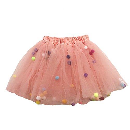 Buenos Ninos Girl's 3 Layers Sequin Ballet Dance Skirt with Pom Pom Puff Ball Dress-up Tutu ()