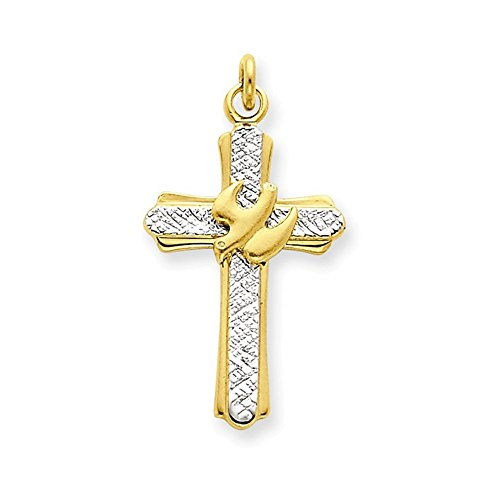 Gold Italian Cross - Jewelry Adviser Charms Sterling Silver Rhodium-plated & 18k Gold-plated Dove (Satin) Cross Charm