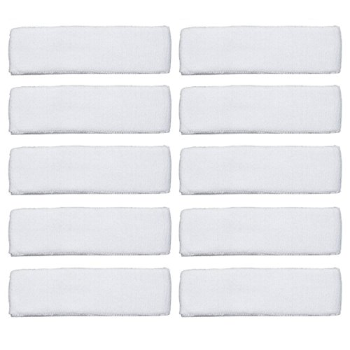 Coolrunner 10 PCS Cotton Sports Basketball Headband/Sweatband (White)