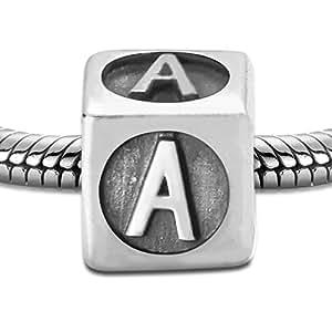 Pandora compatible - Abalorio charm de plata de ley - Letra A