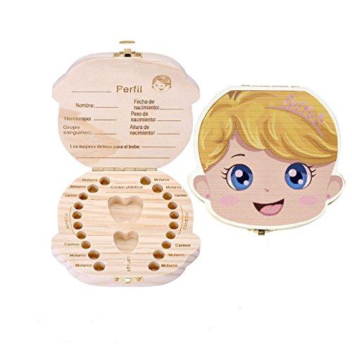 Mogoko Cute Print Baby Tooth Box, Wooden Milk Teeth Storage Case Lost Tooth Organizer for Girl (Spanish, Princess)