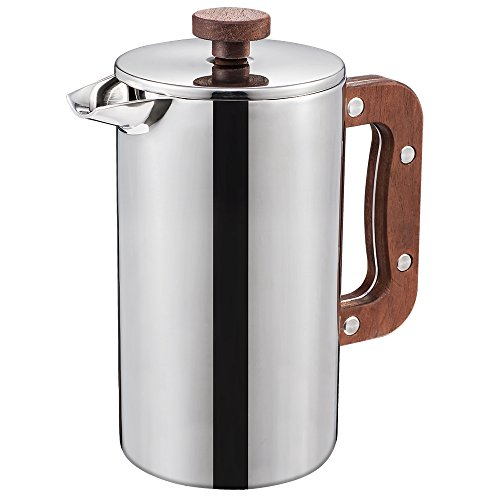 Miuly Stainless Steel French Press With Walnut Handle, Double Walled Insulated Coffee & Tea Maker,(34oz/1L, 8 cup), Bonus with 2 Extra Filter Screens