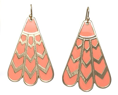 Drop Dangle Gold Tone Earrings (Peach) ()