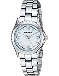 Armitron Womens 75/3861MPSV Mother-of-Pearl Dial Silver-Tone Bracelet Watch