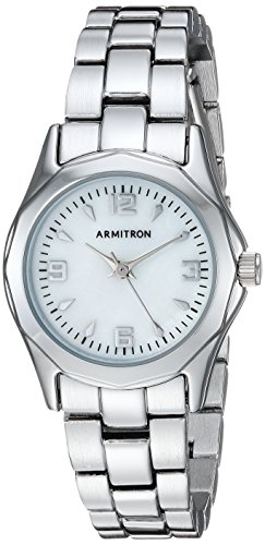 Armitron Women's 75/3861MPSV Mother-of-Pearl Dial Silver-Tone Bracelet Watch - Pearl Tone Dial