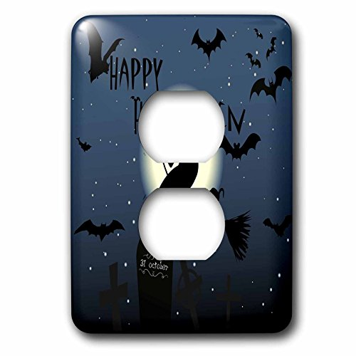 3dRose Halloween - Image of Happy Halloween With Flying Witch And Bats - Light Switch Covers - 2 plug outlet cover (Happy Halloween Witch Pics)