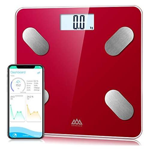 chollos oferta descuentos barato SENSSUN Bascula de Baño Digital Grasa Corporal balanzas digitales bluetooth Analiza la composición corporal con 13 Funciones IMC músculo grasa corporal masa ósea Rojo