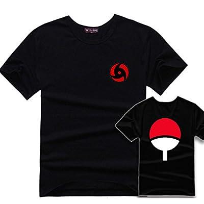 Pulle-A Naruto Uchiha Itachi Mangekyo Sharingan Costume Uchiha Clan Badge T-Shirt