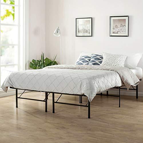 Bed Frame Platform Folding Bed Metal Mattress Inch Portable Heavy Duty Steel Black,Queen