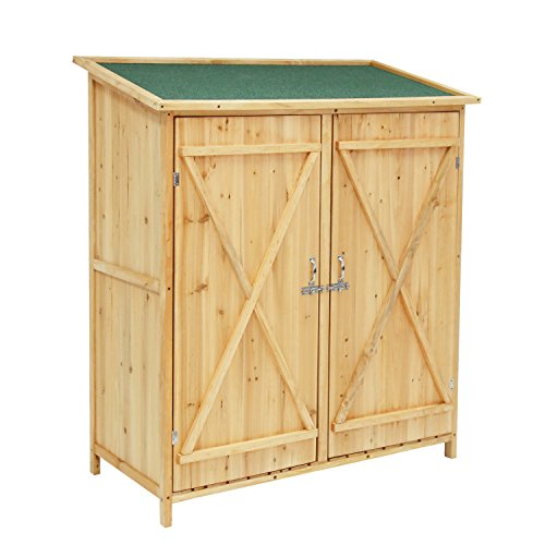Outdoor Wooden Garden Shed Medium Storage Shed Lockable Storage Unit with Double Doors
