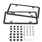 Karoad Black License Plate Frames, 2 PCS Stainless Steel Car Licence Plate Covers Slim Design with Bolts Washer Caps for US Standard (4 Holes)