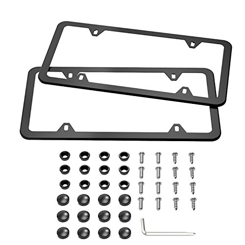 Karoad Black License Plate Frames, 2 PCS Stainless Steel Car Licence Plate Covers Slim Design with Bolts Washer Caps for US Standard (4 Holes) (Billet License Plate)