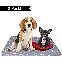 """Washable Reusable Pee Pads for Dogs   XL (32"""" x 42"""") 2-Pack Grey   100% Waterproof & Extra Absorbent   Large Non-Slip Puppy Pads   Pet Training & Housebreaking   Incontinence & Whelping Solution"""