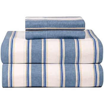 27614 Ivory Britannica Home Fashions Inc Queen Casual Living Heavyweight Damask Stripe Flannel Sheet Set