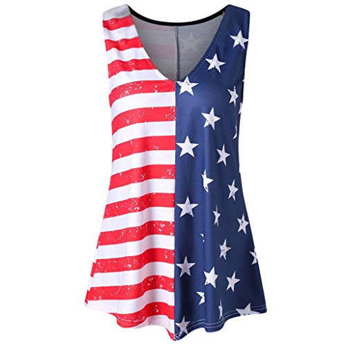 July 4th Women Casual Stripe Independence Day America Flag Printed O-Neck/V-Neck Sleeveless Tank Up Blouse Dress (Red, XXL)