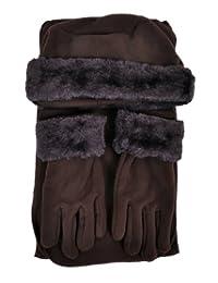 Cloche Fur Trim 3 Piece Fleece Hat, Scarf & Glove Women's Winter Set, Brown