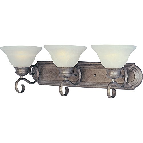 Maxim 8023MRPE Pacific 3-Light Bath Vanity, Pewter Finish, Marble Glass, MB Incandescent Bulb , 40W Max., Wet Safety Rating, Standard Dimmable, Glass Shade Material, 2688 Rated Lumens