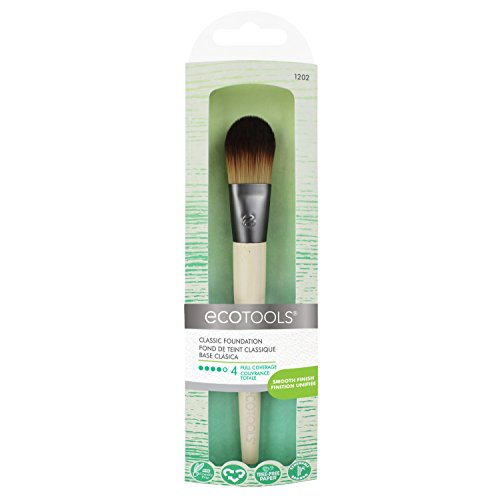 EcoTools Flat Foundation Brush Made with Recycled and Sustainable Materials Cruelty Free Synthetic Taklon Bristles Aluminum Ferrule Recycled Packaging