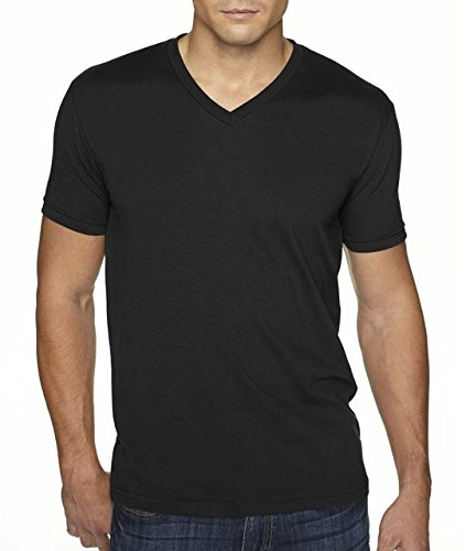 Next Level Apparel 6440 Mens Premium Fitted Sueded V-Neck Tee - Black, Large
