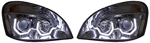 Freightliner Cascadia Headlights 2008-2016 BLACK Trim LED U Bar Projector DOT SAE A0651907006 A0651907007 PAIR