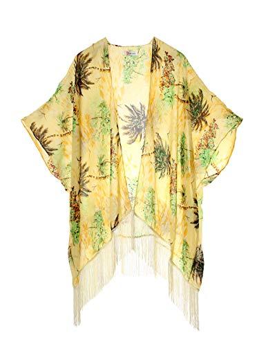 Women's Floral Kimono Cover Up - Lightweight Leopard Chiffon Beachwear for Bikini,Cardigan and Swimwear (one Size,Cream Coconut Palm)