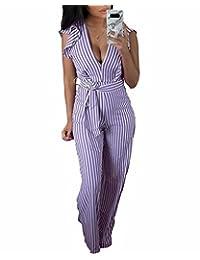 e41169a2ac Adogirl Womens V Neck Ruffle Stripe Tie Waist Backless Long Pant Jumpsuit  Romper