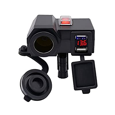 INorton Motorcycle Power Adapter, 12V Cigarette Lighter Socket Splitter with 4.2A Dual USB Charger,Power Charger for Smartphone,Tablets,GPS