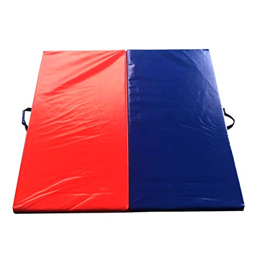 4-Foot 4-Foot 2-inch Two Panel Thick Folding Gym Mat Gymnastics, Exercise, Tumbling Inflatable Landing Pad by TentandTable