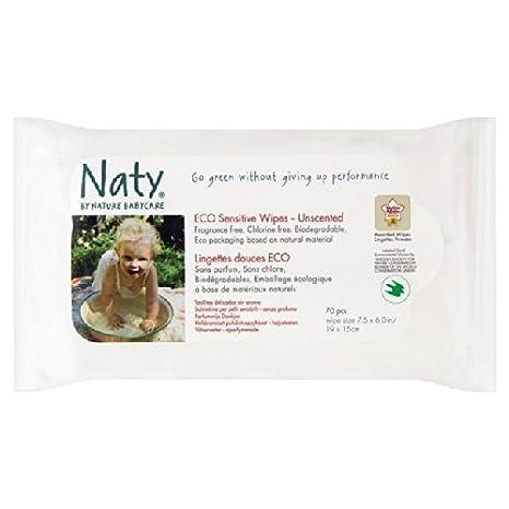 Naty por la Naturaleza Puericultura Eco Wipes sensibles - sin perfume 70 por paquete: Amazon.es: Bebé