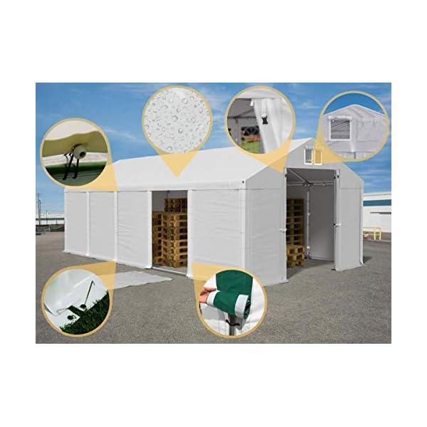 Das Company Tendone Deposito 8x12x4m Tendone Bianco Impermeabile 560g/m² Tenda da stoccaggio Rinforzo Gazebo Magazzino… 3 spesavip