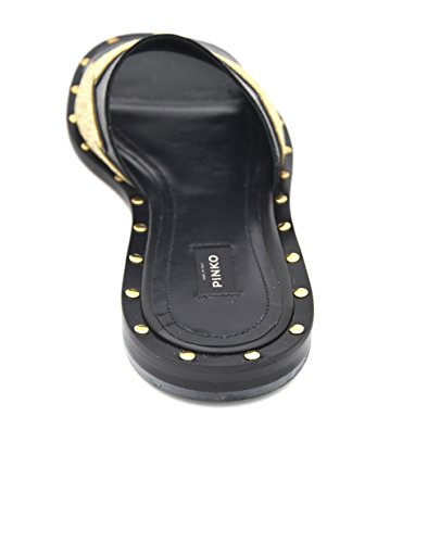 PINKO WOMAN FLATS SANDAL MULES SLIDES SHOES LEATHER GLITTER 1P20Y4 Y3FR NEBBIOLO 39 NERO ORO BLACK GOLD W7AaHyuMsV