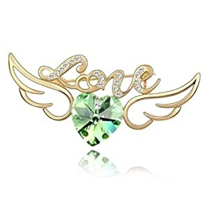 Gold-plated Angel-Wing Fashion Brooch with Heart-Shaped Imported Crystal Elements (CF-1090-X01)
