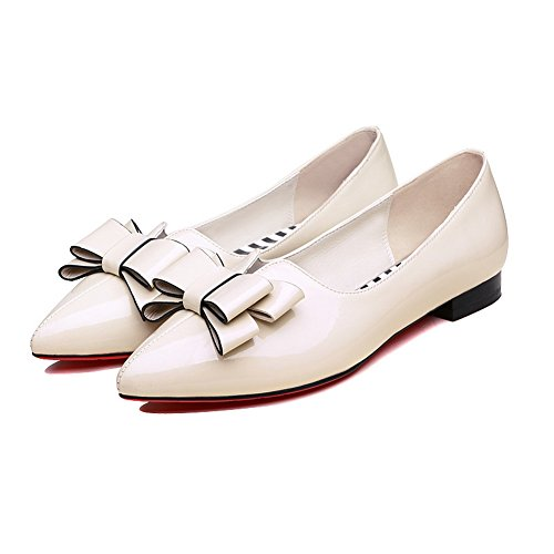 Slip Flats Shoes Comfort Patent AdeeSu Pointed Womens Leather Toe Beige Resistant SDC05370 qBxFFCg1n
