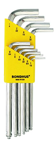 tailles 1//16 Long 1//10,2/cm Bondhus 16938/Lot de 10/Balldriver cl/és coud/ées avec finition Briteguard