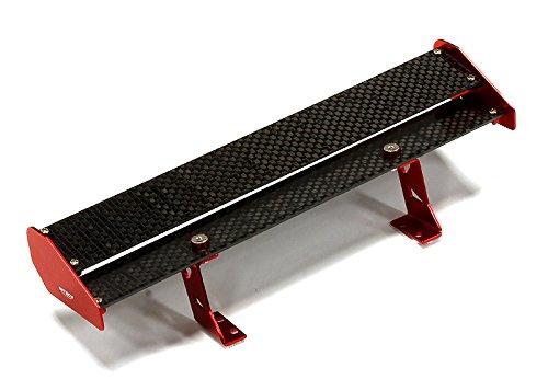 Integy RC Model Hop-ups C25103RED Realistic 1/10 Size Carbon Fiber Rear Wing 185mm (Alloy Rear Wing)