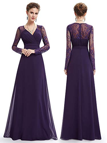 Ever-Pretty Womens Long Sleeve Lace Floor Length Prom Dress 06 US Purple