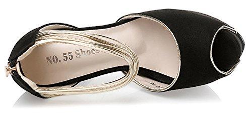 Aisun Dressy Toe Slip Waterproof Black Peep On Wedding Women's Shoes wwqr4a5xv