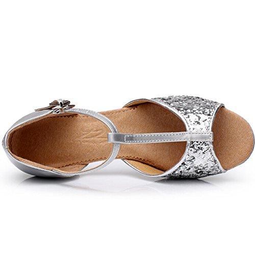 Lisianthus002 - Zapatillas de danza de poliuretano para niña Plateado - plata