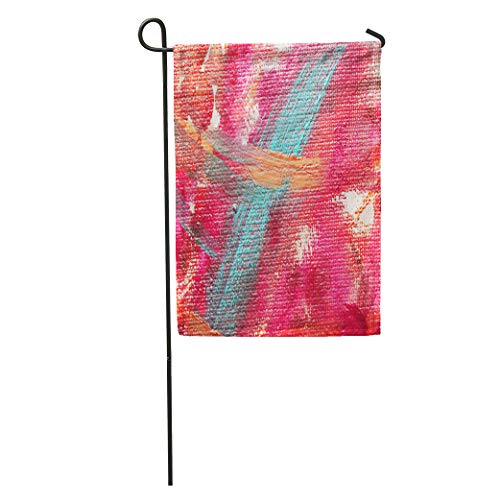 Semtomn Garden Flag Colorful Artistic Fragment of Abstract Painting Orange Avant Garde Bright Home Yard House Decor Barnner Outdoor Stand 28x40 Inches Flag