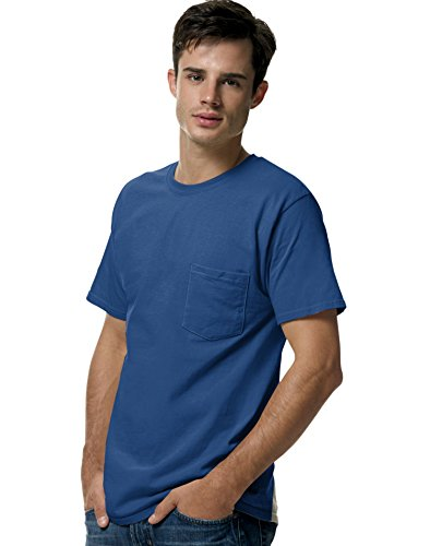 Hanes Adult Tagless Tee with Pocket, Deep Royal, (Honor Short Sleeve Tee)