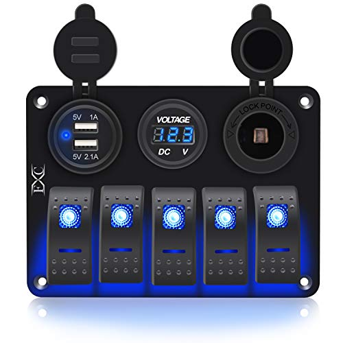 FXC Waterproof Marine Boat Rocker Switch Aluminum Panel 3 Gang with Dual USB Slot Socket 3.1A + Volt Meter Blue LED Light for Car Rv Vehicles Truck (KG0149-5B Blue)