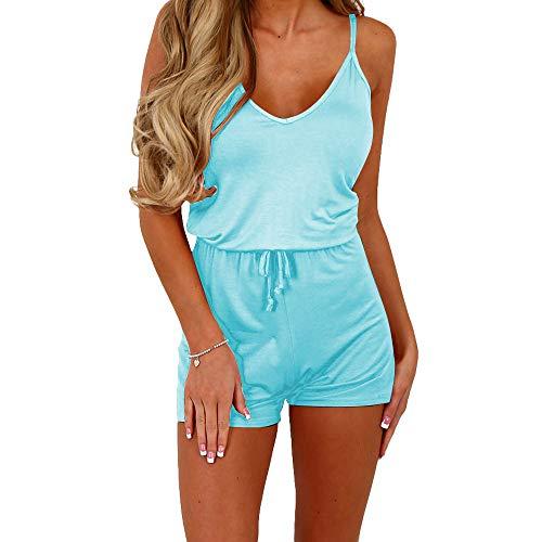 (Dreamskull Women Summer Casual Spaghetti Strap Adjustable Waist Drawstring Short Jumpsuit Cami Romper for Girl (M, Light Blue))