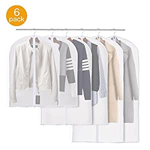 Garment Bags,Cysmile Pack of 6 PEVA Breathable Dustproof and Damp-proof Clothes Cover Bags with Full Zipper for Dress,Suit,Coat etc