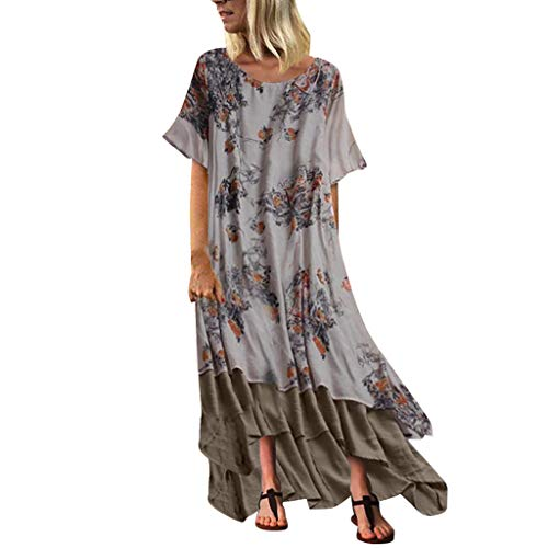 Women Vintage Maxi Sleeveless O Neck Short Sleeve Plus Size Bohemian Print Plaid Long Dress