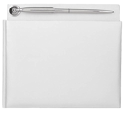 Traditional Wedding Party Keepsakes White Pearlized Guest Book With Silver Electroplated Pen, Paper, 7'' x 8''