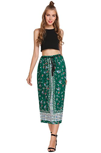 (Women's Boho Hippie High Waisted Floral Printed Long Maxi Skirt (M,)