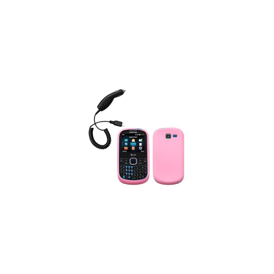 Light Pink Silicone Skin / Case / Cover & Car Charger for Samsung SGH A187