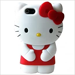 f719af01c78d4a iphone 6S Plus Hello Kitty Case iphone 6 Plus Cartoon Case,MODEFAN Cute 3D  Cartoon Red Hello Kitty Style Rubber Silicone Soft Gel Skin Case Cover for  Apple ...