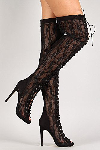 Women's Lace Up Thigh High Boot BLACK (6.5)