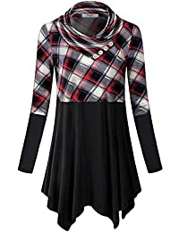 Womens Long Sleeve Cowl Neck Asymmetrical Hemline Flowy...